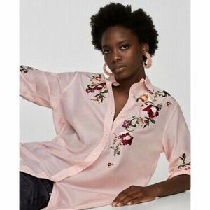 Zara Woman Floral EmbroIdered Blouse PInk